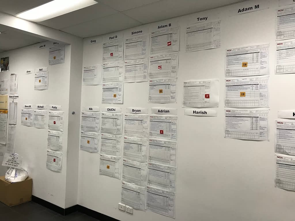 A3 improvement project papers developed in the excellence program are pasted on a wall from floor to ceiling